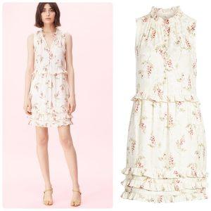Rebecca Taylor Ivie Floral Ruffle Silk Blend Dress